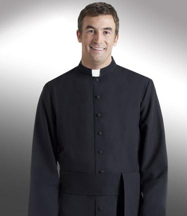 Men's Solid Black & Solid White Clergy Cassock